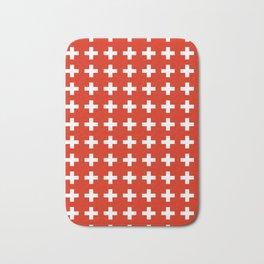 flag of switzerland 2-Switzerland, Alps,swiss,Schweizer,suisse,zurich,bern,geneva Bath Mat