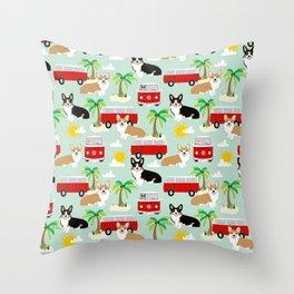 corgi welsh corgis hippie bus tropical beach surf life road trip corgi lover Throw Pillow