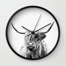 portrait of a highland cow - vertical orientation Wall Clock