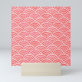 Japanese Seigaiha Wave Pattern – Coral Mini Art Print
