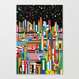 Flagscapes: World Cityscape Canvas Print
