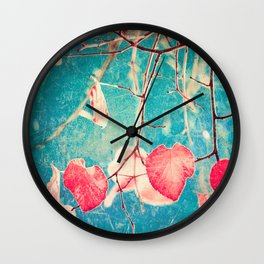 Autumn Hea(u)rts - Textured photography, pinks leafs in blue sky  Wall Clock