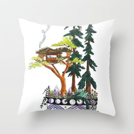 Forest Tree House - Woodland Potted Plant Throw Pillow