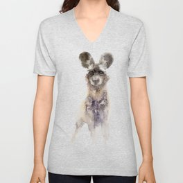 Watercolor African Wild Dog Painting Unisex V-Neck