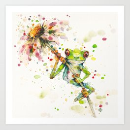 Hello There Bright Eyes (Green Tree Frog) Art Print