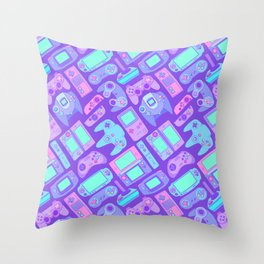 Video Game Controllers in Cool Colors Throw Pillow