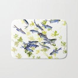 Fish Blue Gray zebrafish, Danio aquarium Aquatic design underwater scene Bath Mat
