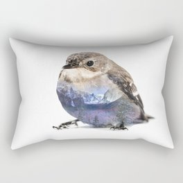 Bird Double Exposure Rectangular Pillow