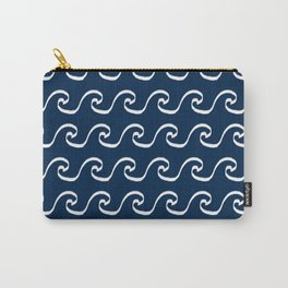 Nautical waves cute simple minimal basic ocean pattern navy nursery gender nuetral Carry-All Pouch