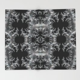 Delicate Silver Filigree on Black Fractal Abstract Throw Blanket