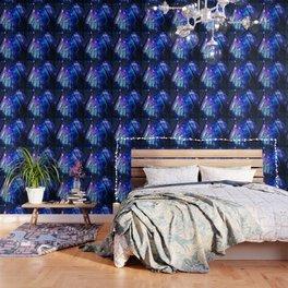black trees purple blue space Wallpaper