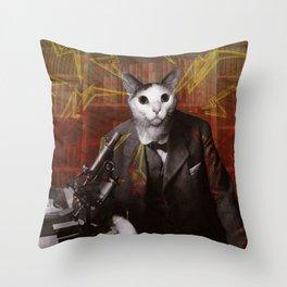 Science Cat Throw Pillow