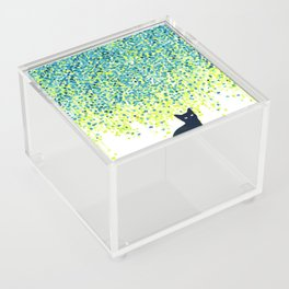 Cat in the garden under willow tree Acrylic Box