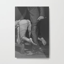 Waiting for the Whip 2# Nude woman whipped Metal Print