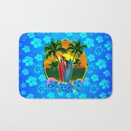 Blue Flowers Tropical Sunset Bath Mat