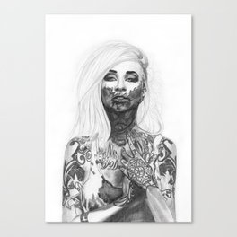 Blood and Tattoos Canvas Print