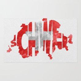 Schweiz / Switzerland Typographic Flag / Map Art Rug