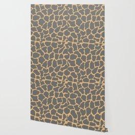 Safari Giraffe Print - Gray & Beige Wallpaper