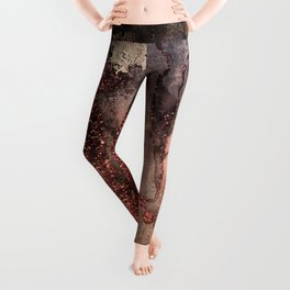 Copper Glitter Stone and Ink Abstract Gem Glamour Marble Leggings