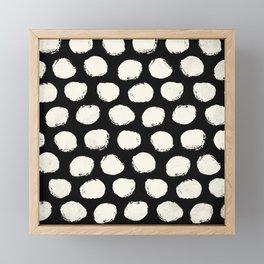 Trendy Cream Polka Dots on Black Framed Mini Art Print