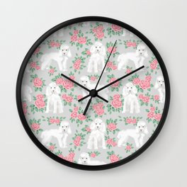 Toy Poodle floral bouquet pet portrait custom dog breed art pattern by pet friendly Wall Clock