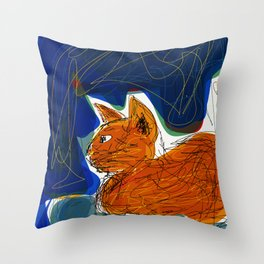 Socca Ginger Cat Art Throw Pillow