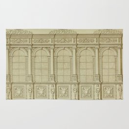Classical Library Architecture Rug