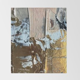 Compelling: a minimal, abstract mixed-media piece in gold, pink, black and white by Alyssa Hamilton Throw Blanket