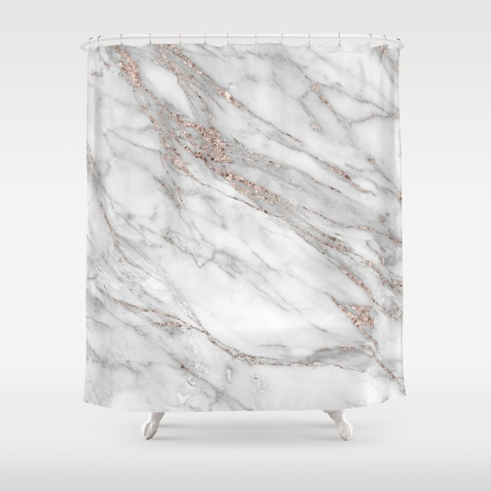 Pink Rose Gold Blush Metallic Glitter Foil On Gray Marble Shower Curtain