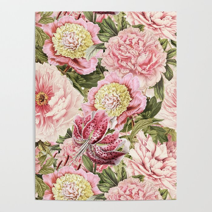 Vintage & Shabby Chic Floral Peony & Lily Flowers Watercolor Pattern ...