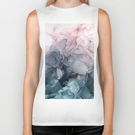 Blush and Payne's Grey Flowing Abstract Painting Biker Tank