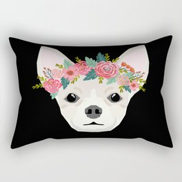 Chihuahua dog breed floral crown chihuahuas lover pure breed gifts Rectangular Pillow