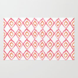 Fiery Coral - aztec watercolour pattern Rug
