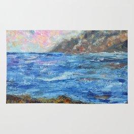 Rocky shores, abstract seascape, ocean art Rug