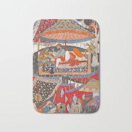 16th Century India Watercolor Painting Bath Mat