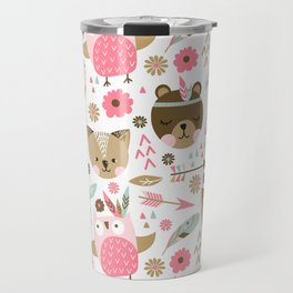 Pink Boho Animals Travel Mug