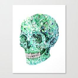 Crystal skull #3 - Green emerald Canvas Print