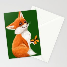 Cute fox playing with a butterfly Stationery Cards