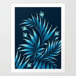 Waikiki Palm - Petrol Blue Art Print