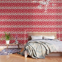 small bouquets in bright red with border Wallpaper
