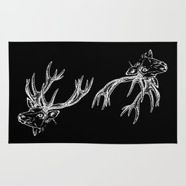 Deer Black White Rug