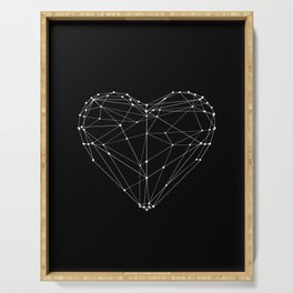 Polygon Love Heart modern black and white minimalist home room wall decor canvas Serving Tray