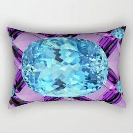 BLUE AQUAMARINES & PURPLE AMETHYST BIRTHDAY GEMS Rectangular Pillow