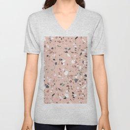 Pink Quartz and Marble Terrazzo Unisex V-Neck