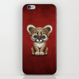 Cute Cougar Cub Wearing Reading Glasses on Red iPhone Skin