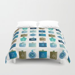 Flask Collection – Blue and Tan Palette Duvet Cover