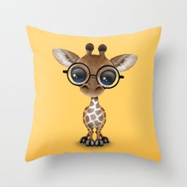 Cute Curious Baby Giraffe Wearing Glasses Throw Pillow