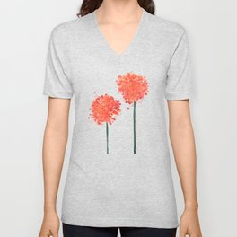 2 abstract geranium flowers Unisex V-Neck
