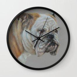 ENGLISH BULLDOG Realistic Dog portrait Pastel drawing on gray background Wall Clock