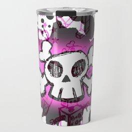 Pink Cartoon Skull Travel Mug